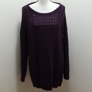 Old navy eggplant purple knitted tunic sweater
